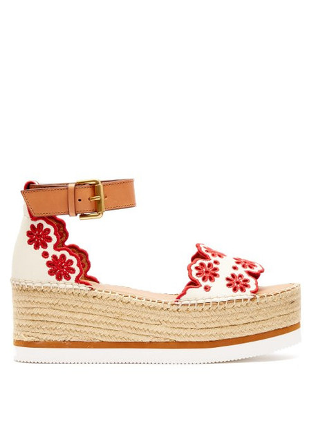 See By Chloé See By Chloé - Laser Cut Leather Flatform Espadrilles - Womens - Red White