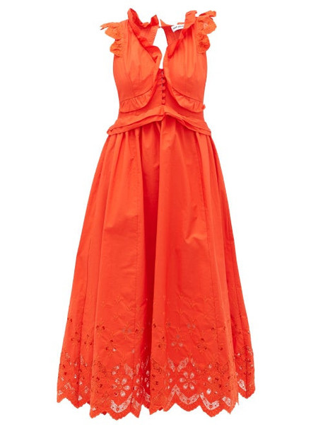 Self-portrait - Brodie Anglaise Cotton-poplin Maxi Dress - Womens - Orange