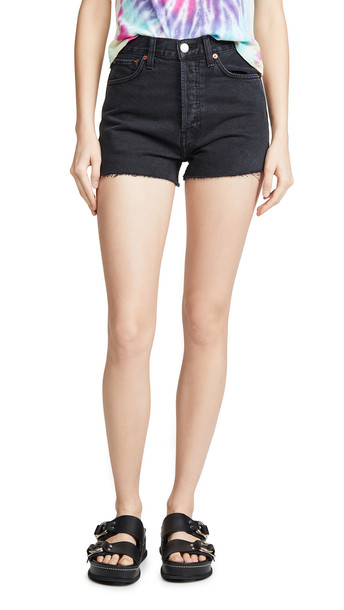 RE/DONE High Rise Shorts in black / stone