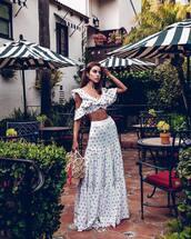 top,crop tops,white top,maxi skirt,white skirt,high waisted skirt,handbag,summer outfits