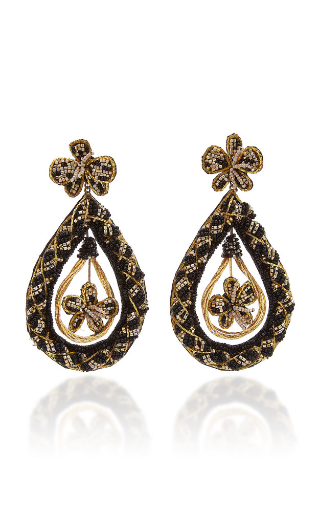 Deepa Gurnani Nida Beaded Drop Earrings in black