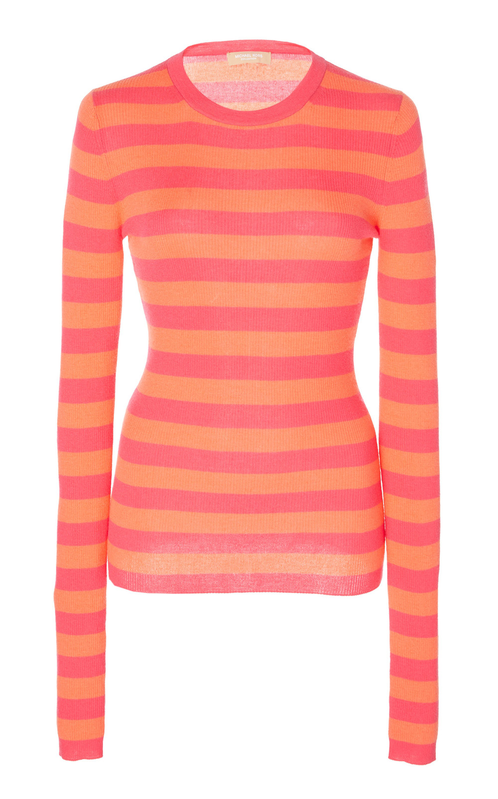 Michael Kors Collection Striped Cashmere Top in pink