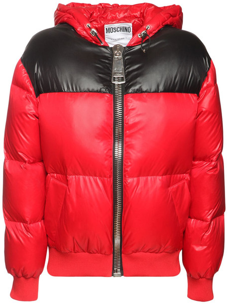 MOSCHINO Shiny Nylon Down Jacket W/back Logo in red