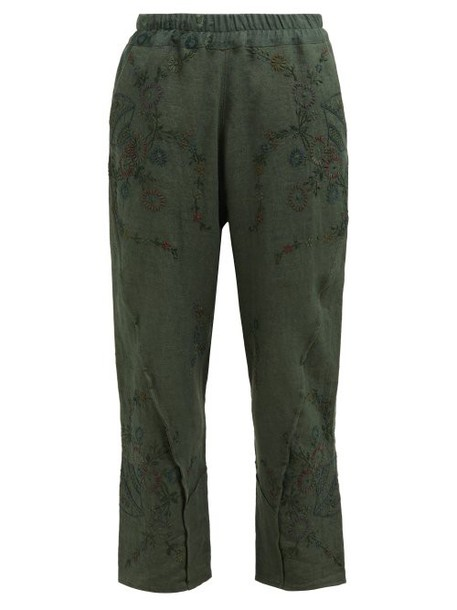 By Walid - Reyzi Floral Embroidered Linen Trousers - Womens - Green