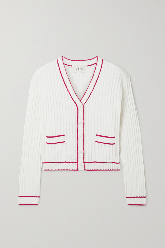 THE GREAT. THE GREAT. - The Athletic Ribbed Cotton-blend Cardigan - Cream