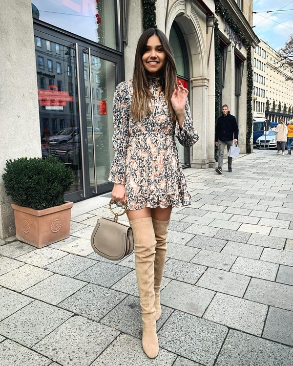 dress mini dress long sleeve dress over the knee boots suede boots bag