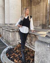 sweater,black sweater,black boots,black jeans,white shirt,black bag