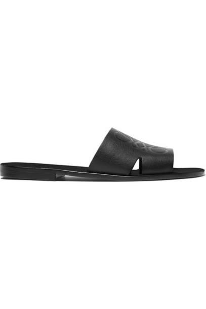 Loewe - Cutout Logo-embossed Leather Slides - Black