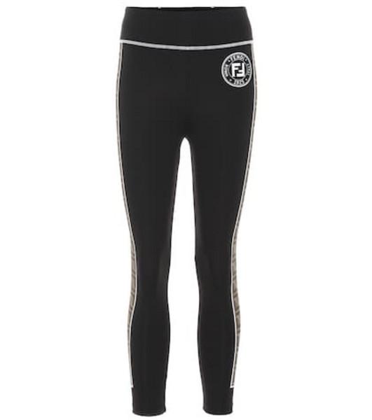 Fendi Technical jersey leggings in black