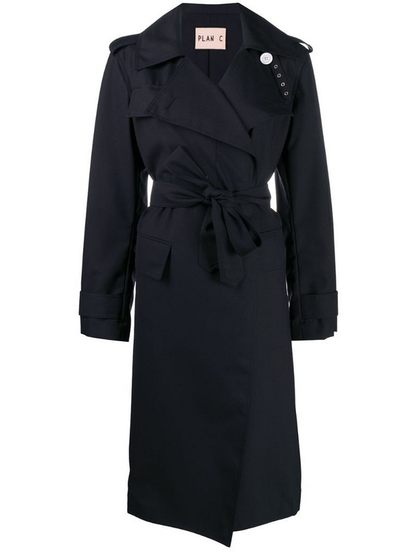 Plan C belted trench coat in blue