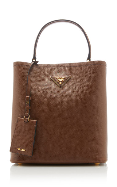 Prada Saffiano Cuir Top Handle Bag in brown