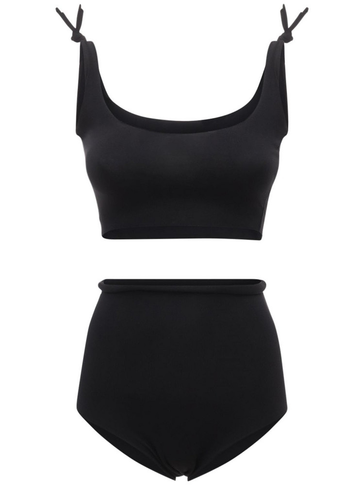 ISOLE & VULCANI Seamless Cotton Jersey Bikini in black