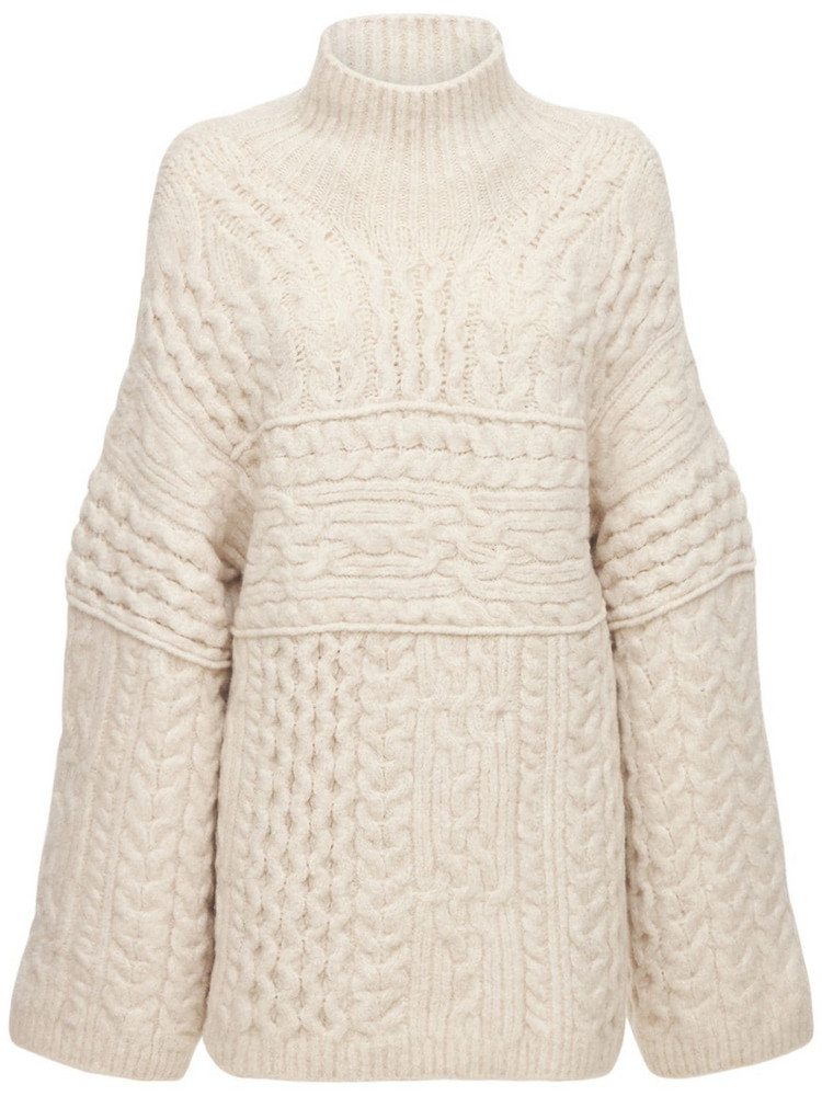 NANUSHKA Wool Blend Cable Knit Turtleneck Sweater in white