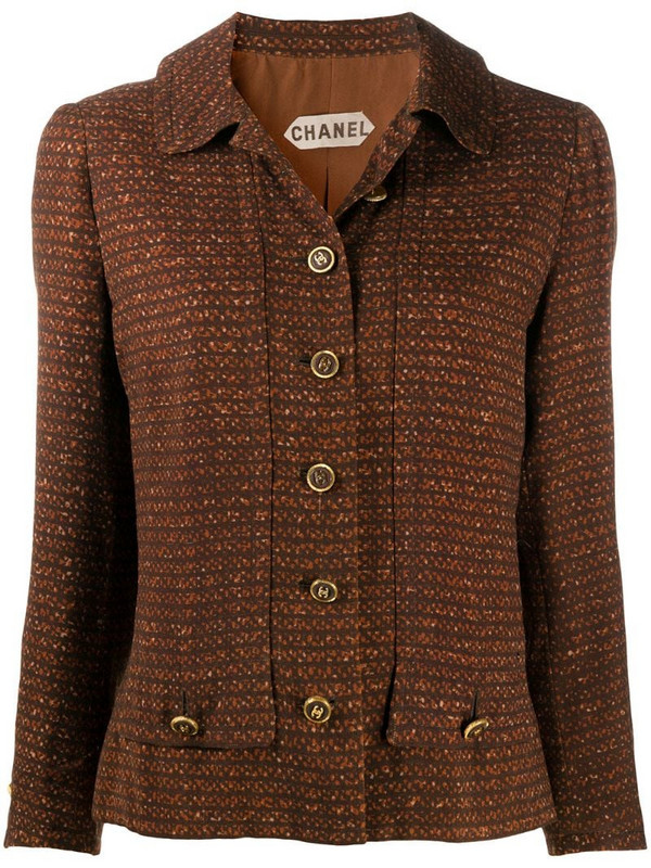 Chanel Pre-Owned geometric-printed shirt jacket in brown