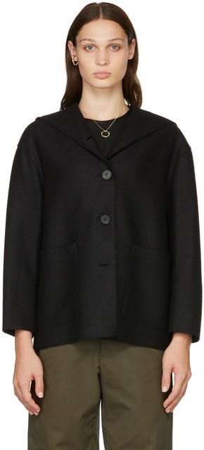 Harris Wharf London Oversized Hooded Jacket in black