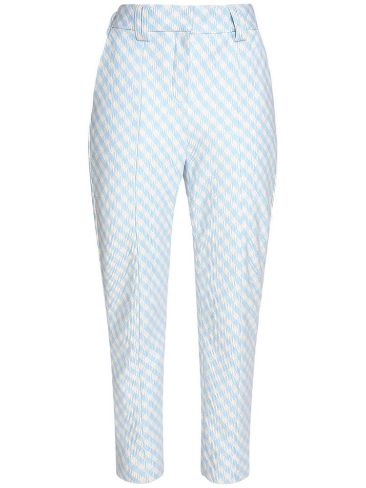 BALMAIN Cotton Blend Gingham Carrot Pants in blue / white