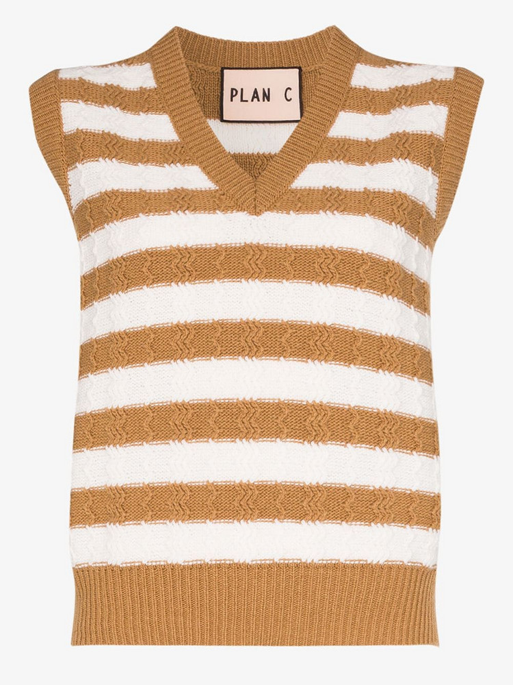 Plan C V-neck striped vest in neutrals
