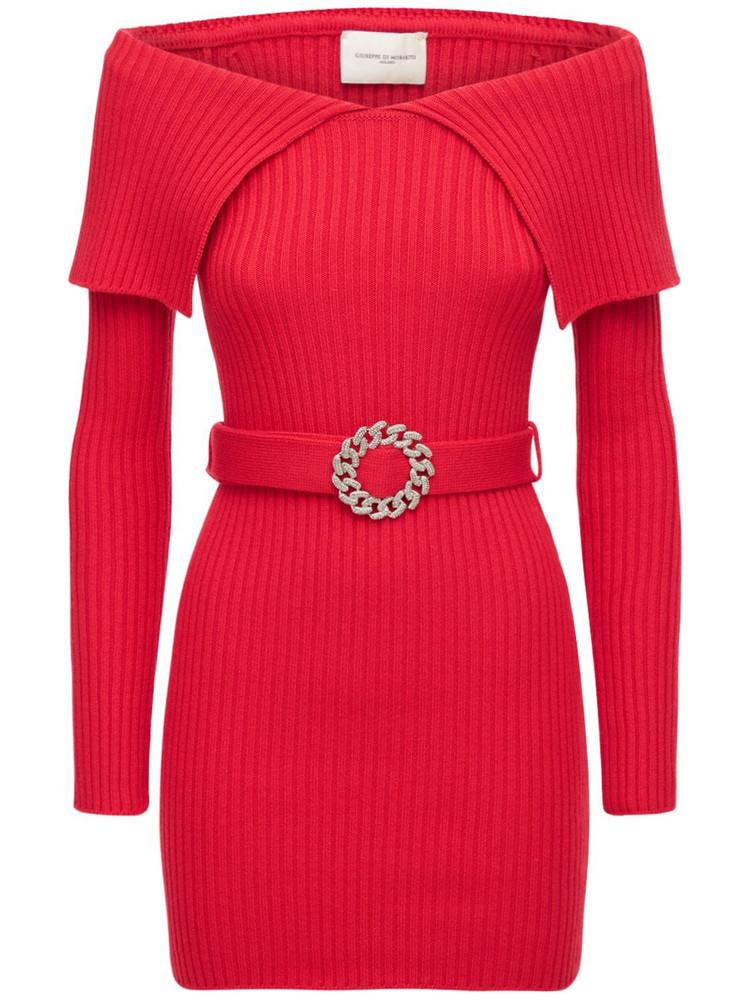 GIUSEPPE DI MORABITO Wool Blend Belted Mini Dress in red
