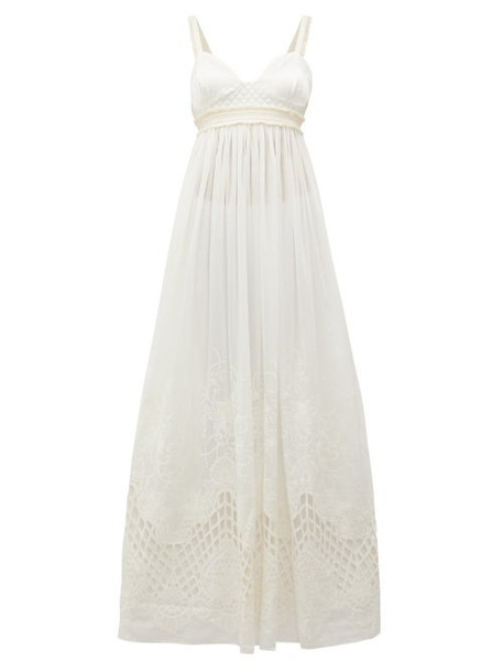 Love Binetti - Esperanza Satin-bodice Cotton Maxi Dress - Womens - Ivory