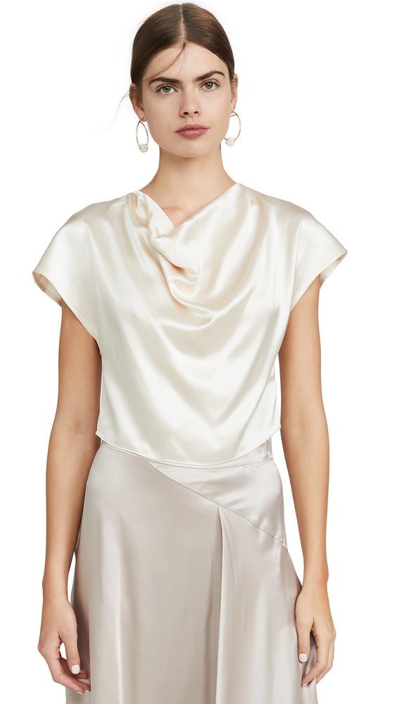 Le Kasha Cowl Neck Silk Top in cream