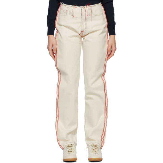 Maison Margiela Off-White Red Stitches Jeans in ecru