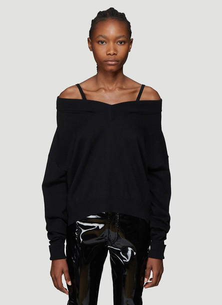 Maison Margiela Fine Knit V-Neck Sweater in Black size XS