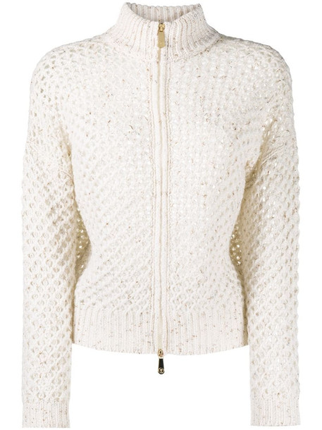 Peserico open-knit cardigan in neutrals