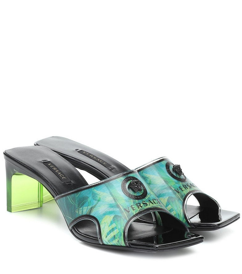 Versace Jungle-print PVC sandals in green