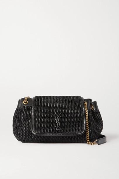 SAINT LAURENT - Nolita Small Raffia And Leather Shoulder Bag - Black