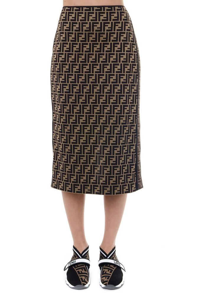 735967e81d Fendi Straight Cotton Logo Skirt in brown