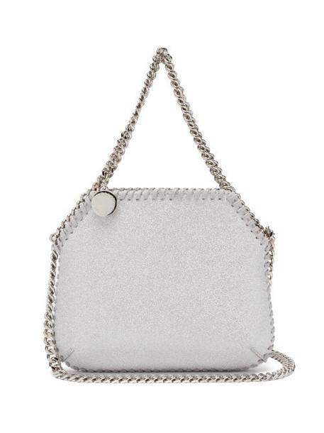 Stella Mccartney - New Falabella Mini Glitter Faux-suede Bag - Womens - Silver