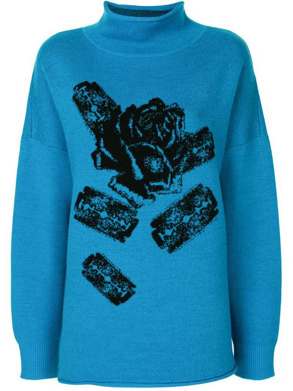 Undercover rose print jumper in blue
