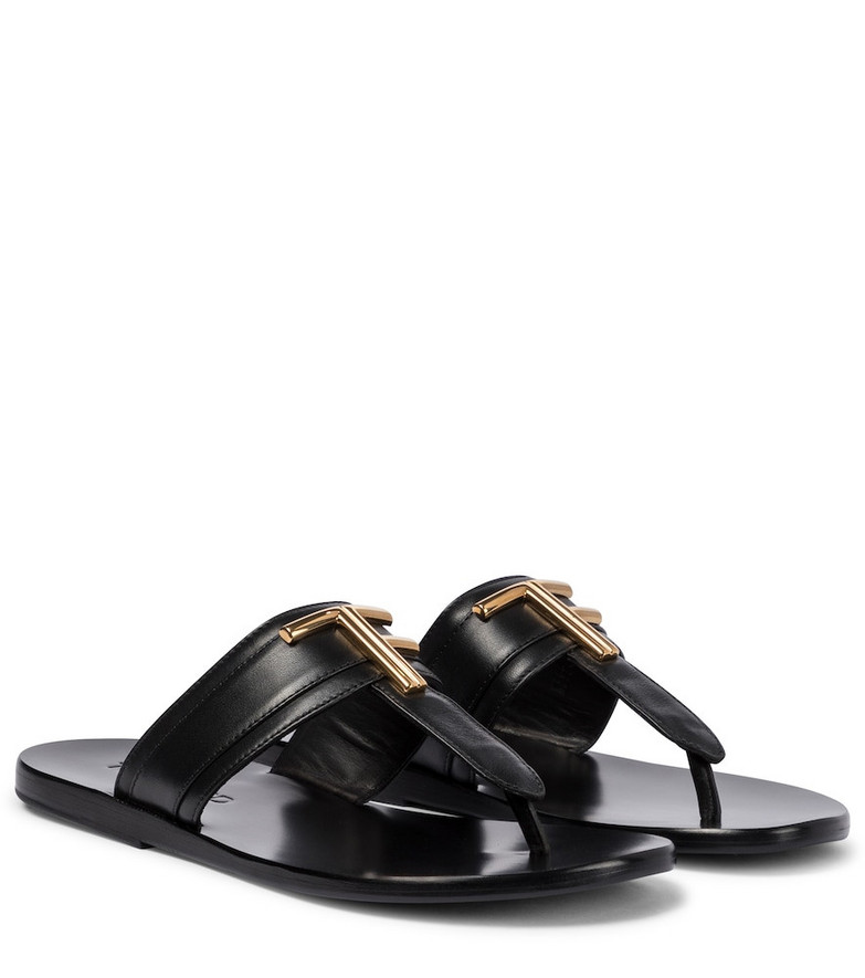 Tom Ford Brighton leather thong sandals in black
