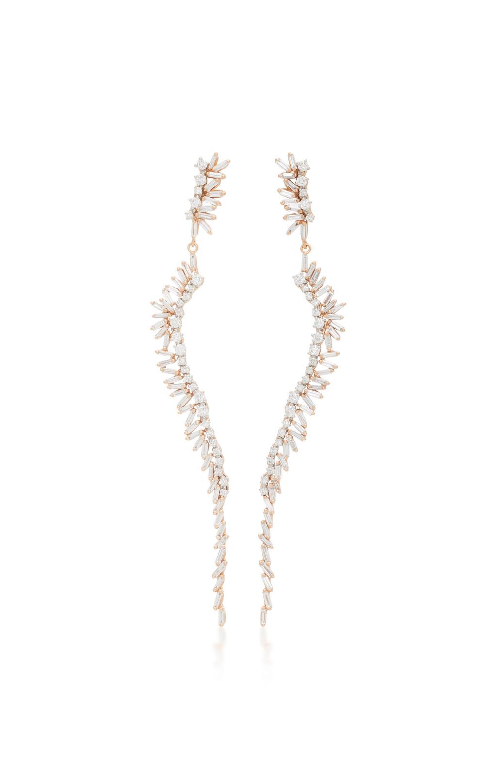 Suzanne Kalan 18K Rose Gold Diamond Earrings in pink