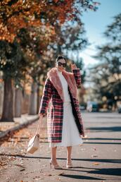 hallie daily,blogger,coat,sweater,skirt,bag,jewels,shoes,sunglasses,top,shirt,jacket,winter outfits,fur collar coat,midi skirt,white sweater,chanel bag,long coat,plaid,slingbacks,white shirt,white turtleneck top,black sunglasses