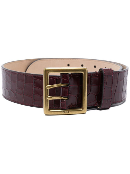 Polo Ralph Lauren croc-effect wide leather belt - Red