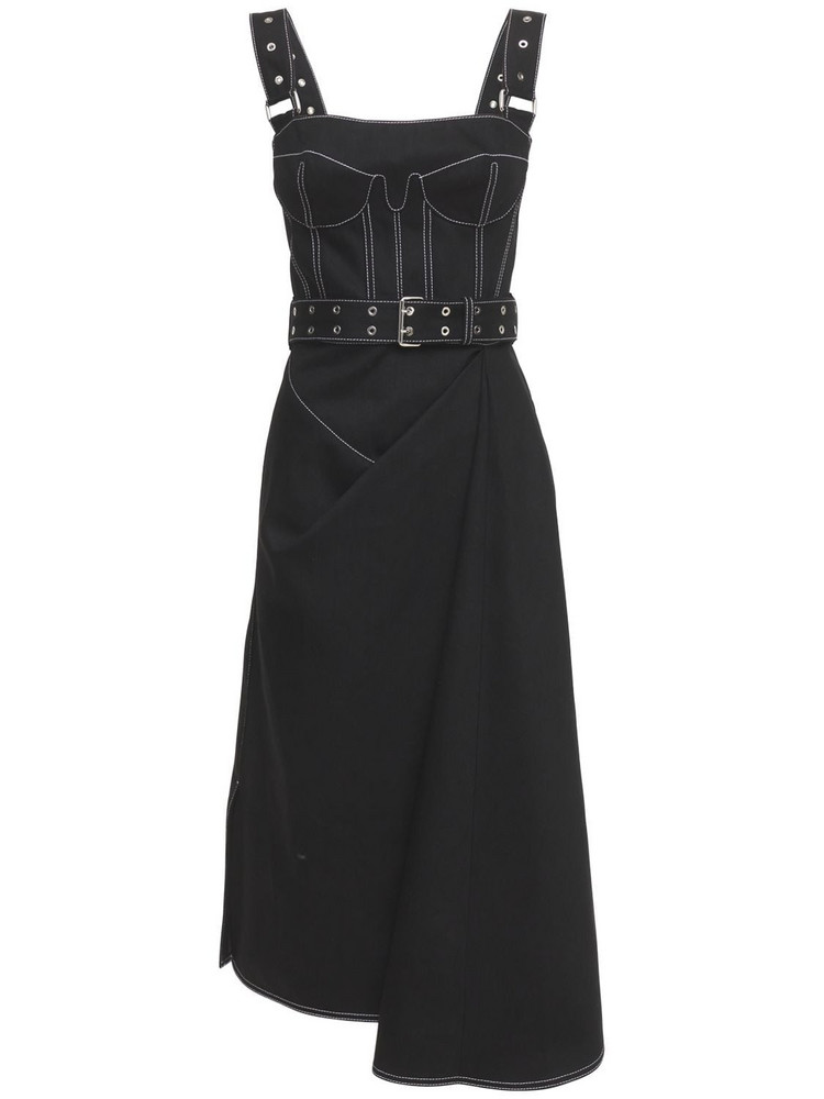 ALEXANDER MCQUEEN Belted Cotton Denim Bustier Dress in black