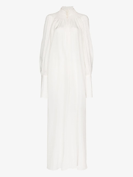 Masterpeace high neck cotton and linen maxi dress in white