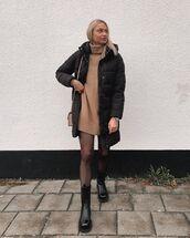 dress,turtleneck sweater,oversized sweater,h&m,black boots,tight,black jacket,puffer jacket,bag