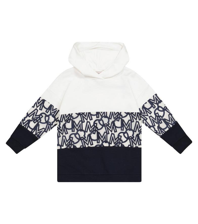 Moncler Enfant Logo cotton-blend hoodie dress in blue