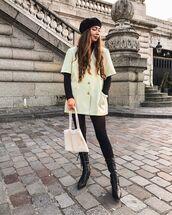 bag,white bag,tights,white jacket,black turtleneck top,beret