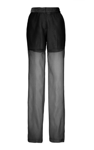 Helmut Lang Sheer Pleated Silk Trousers in black