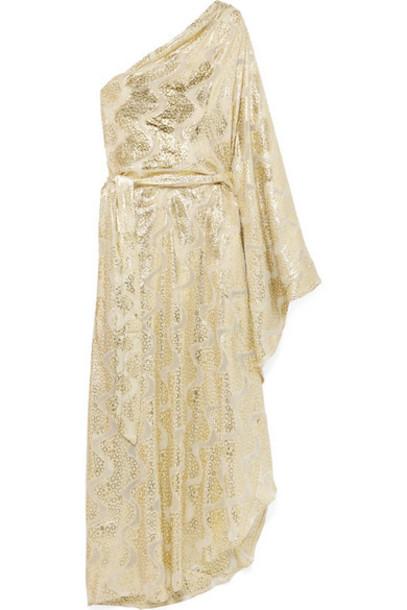 Melissa Odabash - Crawford One-shoulder Satin-jacquard And Lurex Maxi Dress - Gold