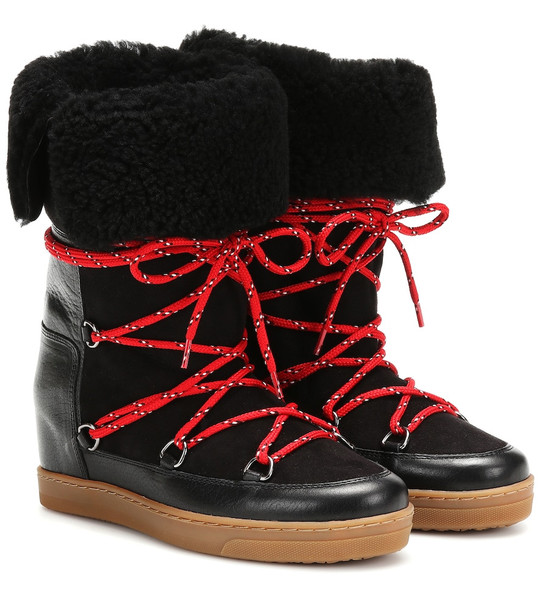 Isabel Marant Nowly shearling ankle boots in black