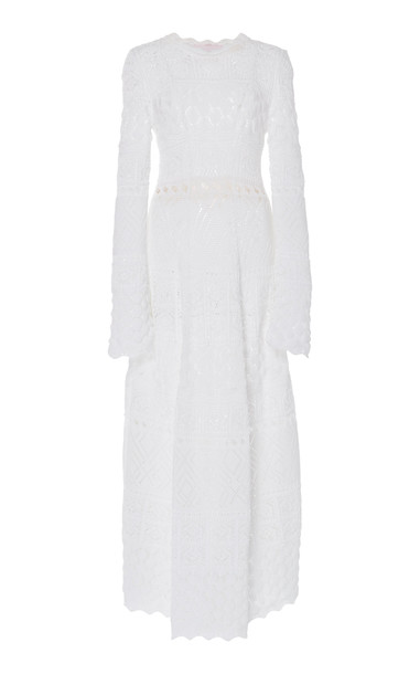 Carolina Herrera Long-Sleeve Cotton Knit Dress Size: M in white
