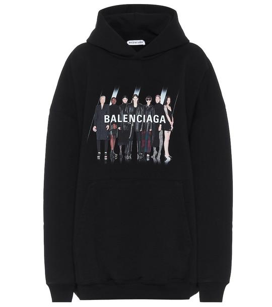 Real Balenciaga cotton hoodie in black