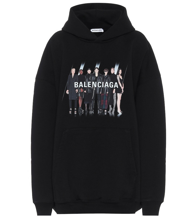 Real Balenciaga cotton hoodie in black
