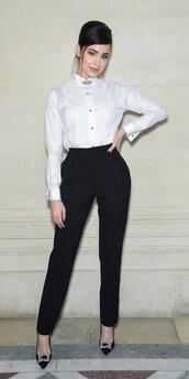 shoes,pants,top,pumps,celebrity,sofia carson,fashion week