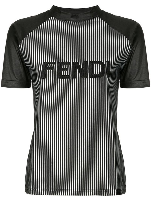 Fendi Pre-Owned striped logo T-shirt in black