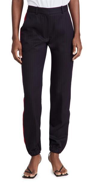 Victoria Beckham Slim Leg Zip Detail Trousers in navy / red
